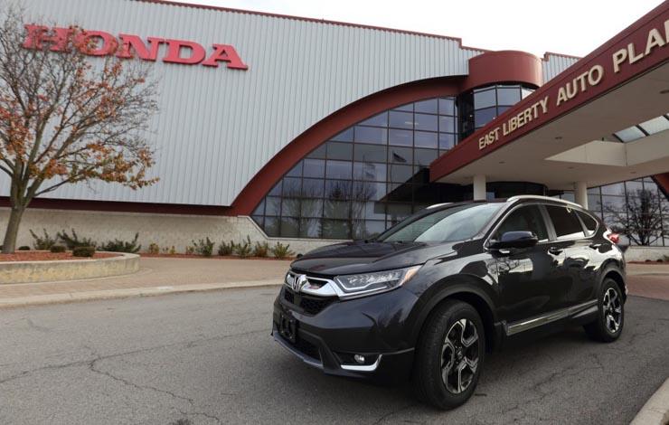 Honda CR-V – продукция завода East Liberty в штате Огайо. В США Honda располагает четырьмя автомобильными предприятиями – два в штате Огайо и по одному в Алабаме (г. Линкольн) и Индиане (г. Гринсберг)