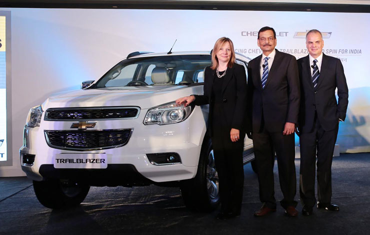 Мэри Бара и топ-менеджеры GM India на презентации Chevrolet Trailblazer
